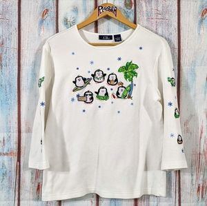 💎 CB Casual Tropical Penguin Florida Sweater L